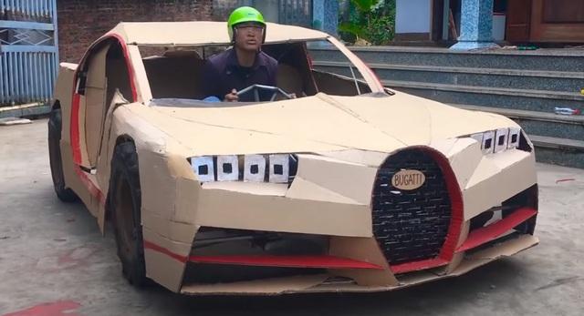 Siêu xe tự chế bằng bìa các-tông của người Việt lên báo Tây