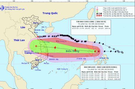 Vị trí và đường đi của bão Molave. Ảnh: Trung tâm Dự báo KTTV Quốc gia.