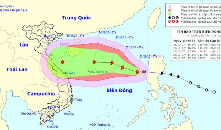Bão số 8 liên tục tăng cấp khi hướng vào Miền Trung, gió có thể giật cấp 14