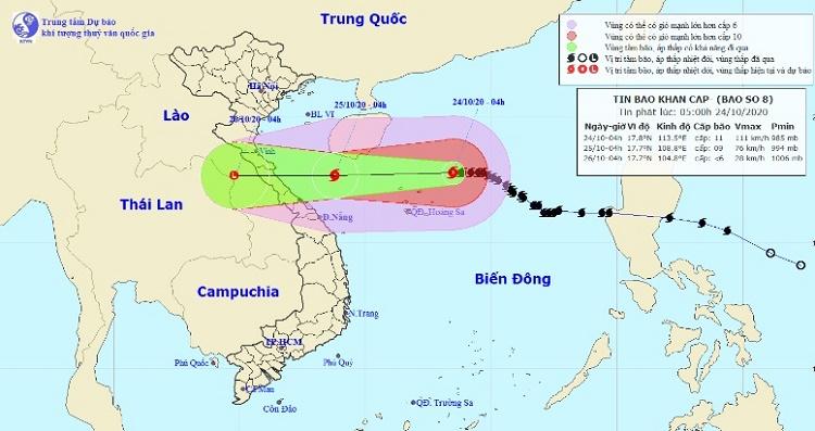 Bão số 8 đang hướng vào miền Trung, những tỉnh nào nằm trong tâm bão?