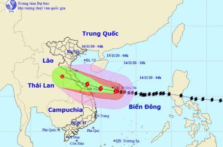 Vị trí và hướng di chuyển tiếp theo của bão số 13 Vamco. (Ảnh: Trung tâm Dự báo KTTVQG)