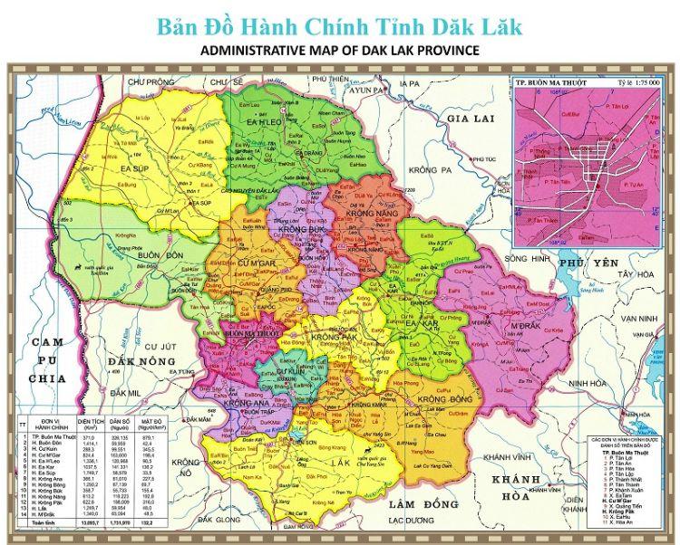 bản đồ hành chính Đắk Lắk