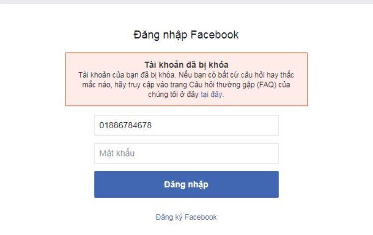 tài khoản facebook bị khóa