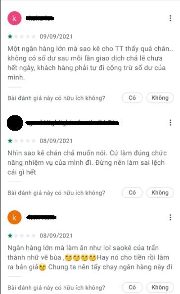 bình luận tiêu cực trên VIetcombank