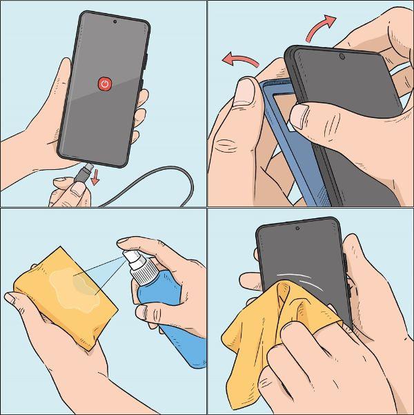 vệ sinh mặt điện thoại